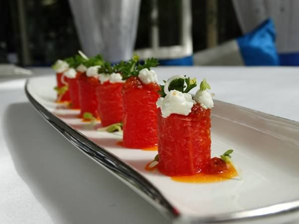"""When one has tasted watermelon, he knows what the angels eat"" – Mark Twain.  #Watermelon & Goat #Cheese Cannelloni @ #Sevilla #TheClaridgesNewDelhi"