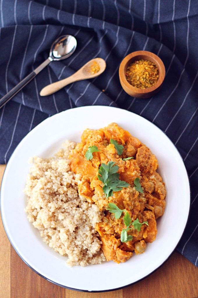 Curry de butternut, pois chiches et quinoa {Sans gluten - Vegan}
