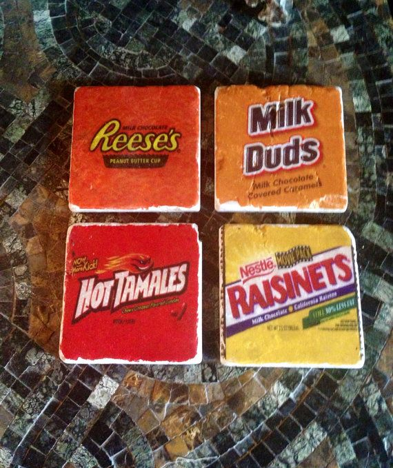 movie room coasters.... easily done with stone or tile, some candy wrappers and modpodge.