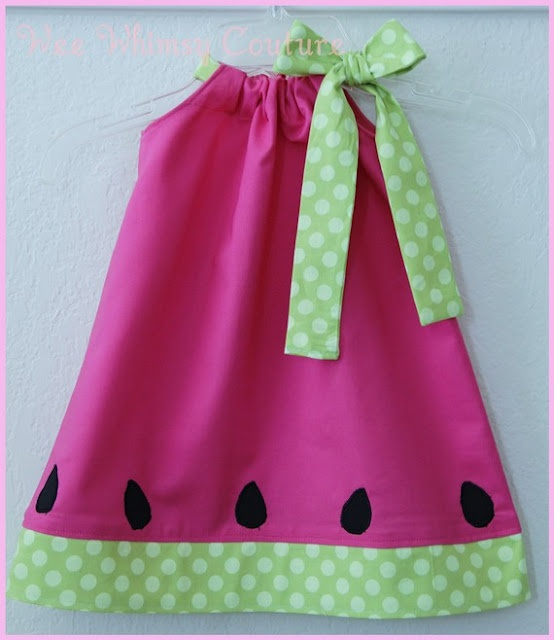 Inspiration pic for watermelon pillowcase dress!! Could do fabric or felt applique seeds!