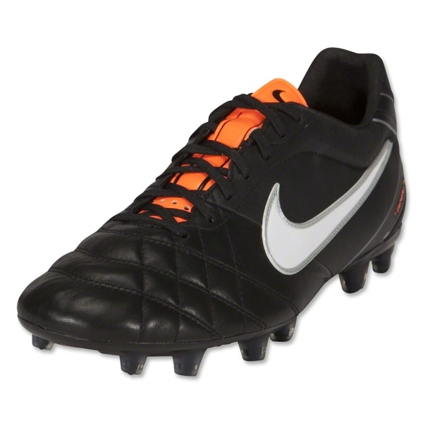 Nike Tiempo Flight FG Cleats (Black/White/Total Orange)