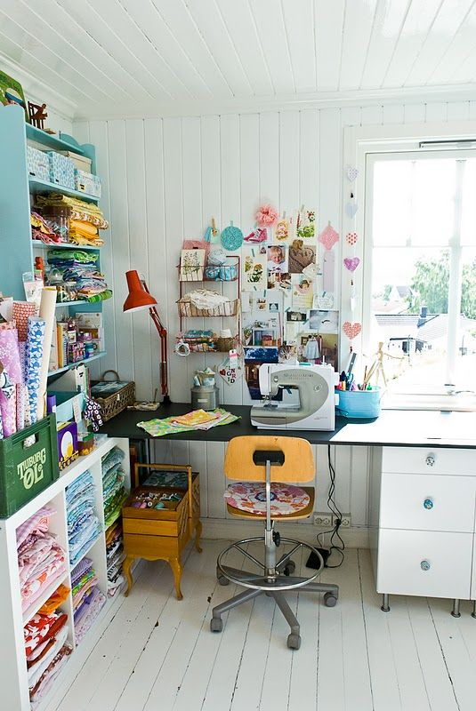 Fabric storage. this would be a cool art or design studio.... even though it's a sewing room..
