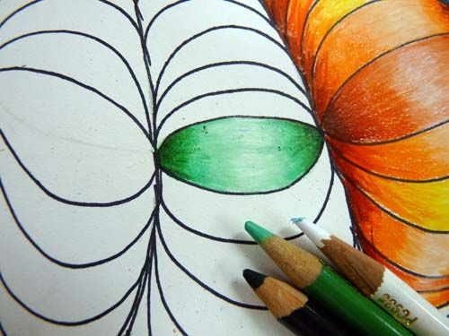 How to draw and color an optical design add an illusion of depth in the design by using colored pencils coloring techniques mix and blend colors