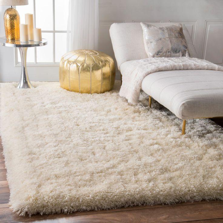 nuLOOM Solid Soft and Plush White/ Grey Shag Rug (7'6 x 9'6) (White), Size 8' x 10'