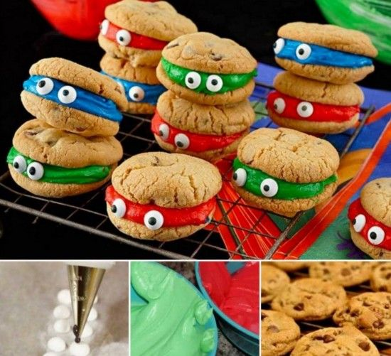 Peeping Ninja Turtle Cookies.  Kenny bo benny would love these