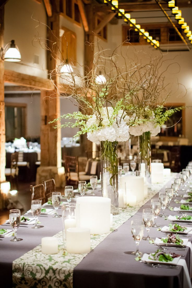 White hydrangeas baby 39 s breath and curly willow branches for Tall wedding centerpieces with branches