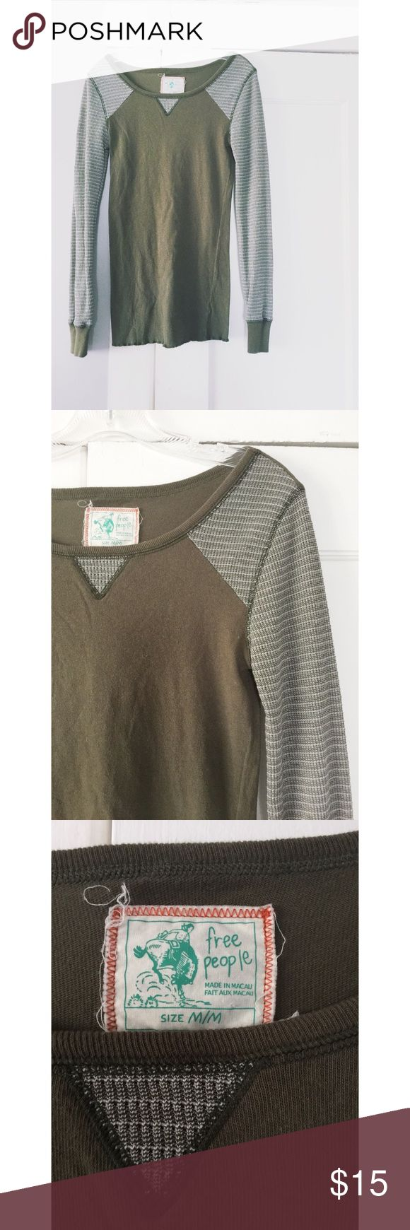 Free People Top Free People Top.  Thermal sleeves.  Oliver green and cream.  Women's size medium.  Great condition. Free People Tops Tees - Long Sleeve