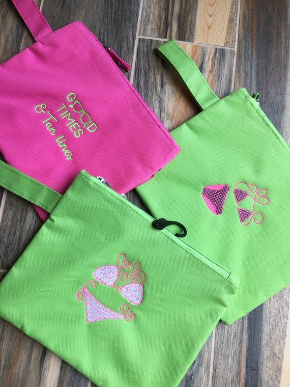 Embroidered Monogrammed Wet Bathing Suit Bag Also Doubles As A