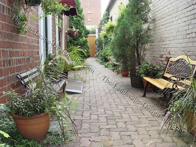 Long narrow courtyards by the landscape design for Small garden plans uk