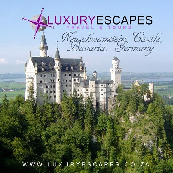 Neuschwanstein Castle, Bavaria, Germany. Located on a rugged hill above the village of Hohenschwangau; a nineteenth-century Romanesque Revival palace. This castle was inspiration for the Disneyland's Sleeping Beauty Castle. Go visit a real Castle for yourself. www.luxuryescapes.co.za
