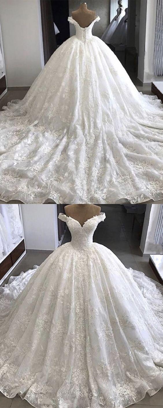 V neckline off the shoulder ball gown lace wedding dresses vintage