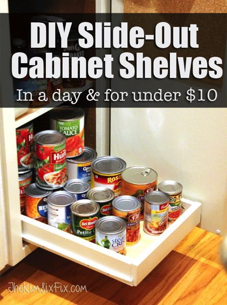 How to build your own pull out cabinet shelves or drawers to help give you access to the back of your cabinets.