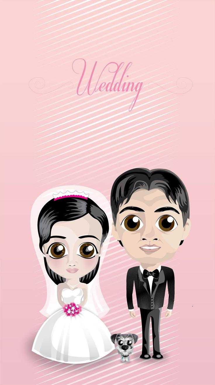 Caricaturas hechas para una invitación a una boda.