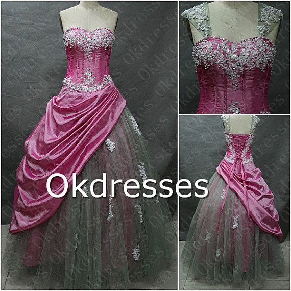Lace Appliques Long  Ball Gown Quinceanera Dresses, Hot Pink Taffeta Tulle Quinceanera Dress Corset,Ball Gown, Evening Gown Prom, on Etsy, $179.00