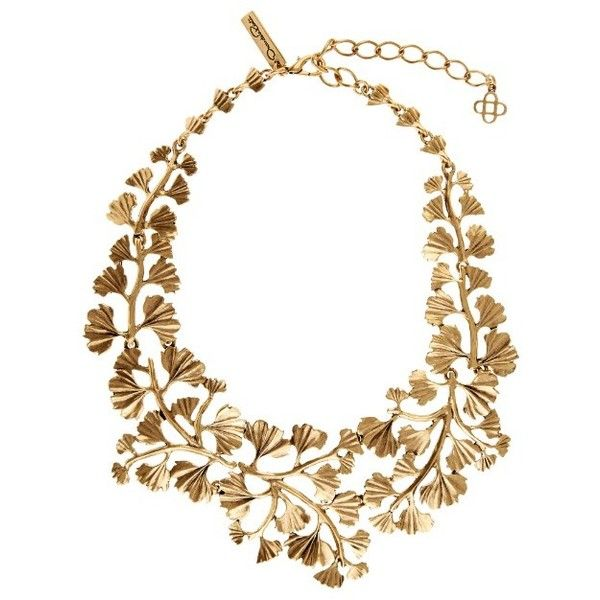OSCAR DE LA RENTA Gingko-leaf necklace found on Polyvore featuring jewelry, necklaces, accessories, collane, gold, yellow gold necklace, gold necklaces, leaf jewelry, oscar de la renta necklace and leaf necklace