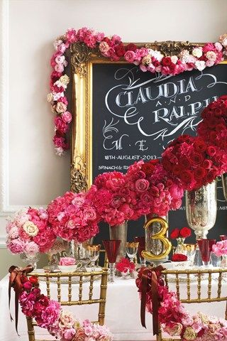 Red Ombré love the garland illusion and naomi rose, hydrangea, peony and dahlia
