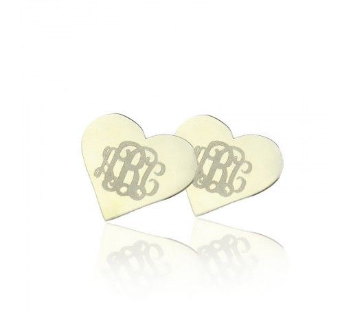 Cusotm Hearts Style Stud Engraved Monogram Earrings in Solid White Gold