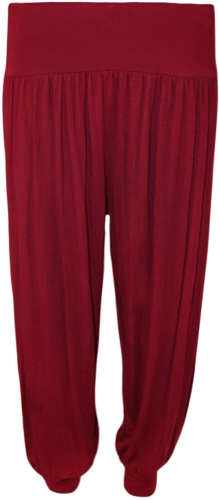 Ladies Plus Size Harem Trousers Womens Full Leggings Stretch Pants - Black 24/26