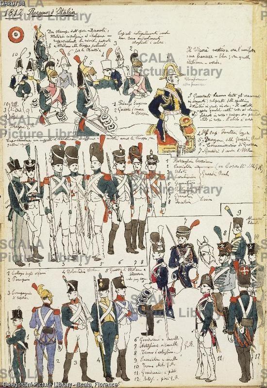 ******** Militaria, Italia XIX secolo. Uniformi varie del Regno d'Italia, 1812. Tavola dal Codice Cenni.