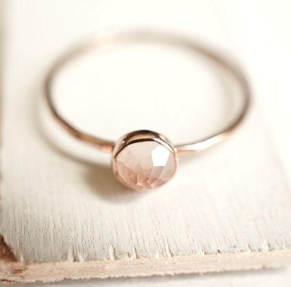 Rose Quartz Ring Dainty Gold Ring Stacking Ring 14k by Luxuring