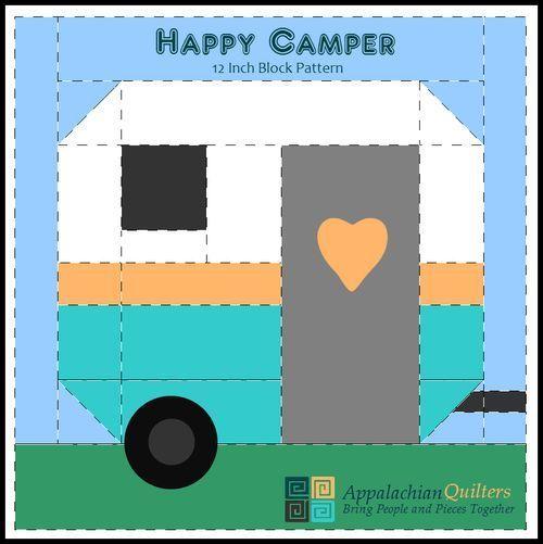 Happy Camper 12 in Quilt Block Pattern