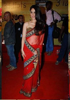 Lush Red Color Embroidered Saree