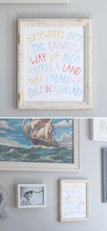 nursery rhyme Somewhere Over the Rainbow // hand lettered print // gender neutral nursery