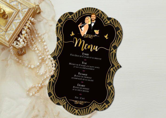 mariage Gatsby original vintage et rétro chic noir et or - menu forme de découpe. Chic des années folles – Charleston années 20 - dessin caricature d'après photo © www.studio-postscriptum.fr