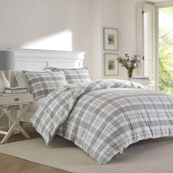 Laura Ashley Mulholland Plaid Grey Flannel Duvet Set