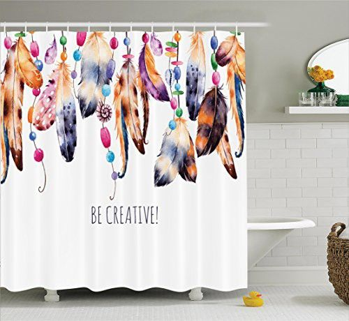 Ambesonne Pearls Decor Collection, Be Creative Quote Watercolor Print Feathers and Beading Boho Style Home Decor, Polyester Fabric Bathroom Shower Curtain Set with Hooks, White Brown