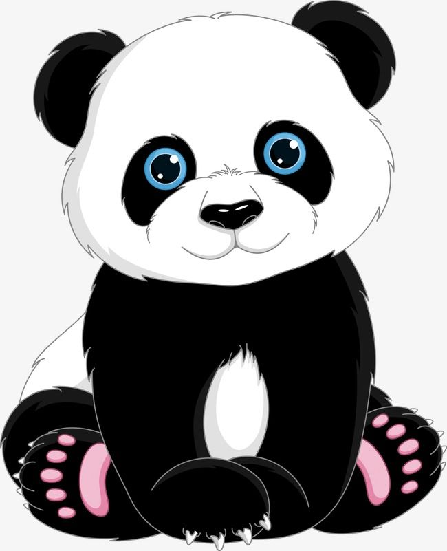 Panda,Tiere,Cartoon -,Handbemalte,Panda – Illustra…