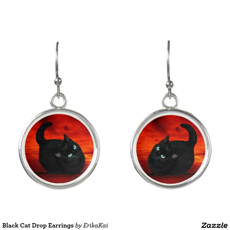 Black Cat Drop Earrings. Regalos, Gifts. #DiaDeLasMadres #MothersDay