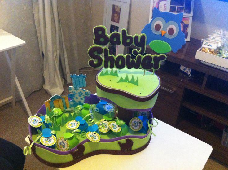 Decoración para mesa baby shower buho