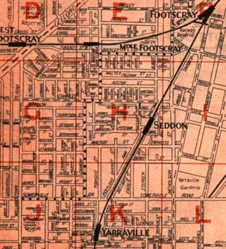 """Old map of Footscray, with what's now Eastwood St shown as just """"Wood St"""""""