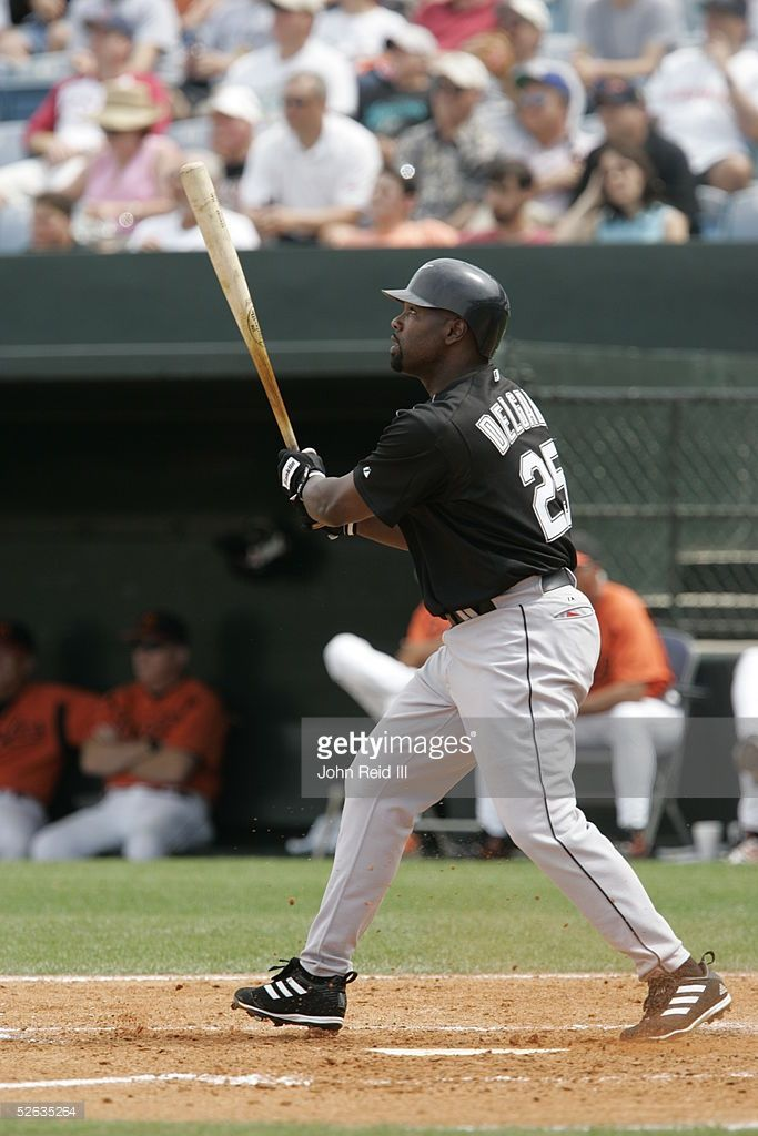 Carlos Delgado of the Florida Marlins bats during the Spring Training game against the Baltimore Orioles at Ft. Lauderdale Stadium on March 28, 2005 in Ft. Lauderdale, Florida.
