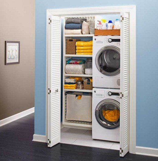 Modern compact laundry equipment such as washer/dryer units means that you can downsize your laundry to free-up space in the home with nifty ideas