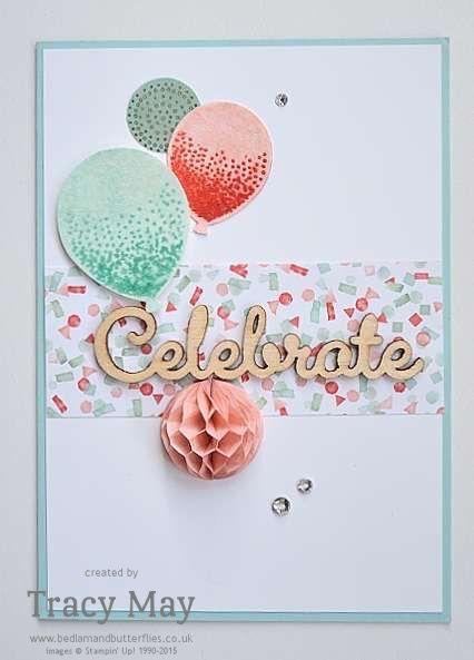 Kombiniert die Ballons aus dem Stempelset Partyballons von Stampin' Up! mit den Accessoires Honigwaben. Das sieht einfach toll aus! #stampinup #DIY #Karte #Luftballons #Geburtstag