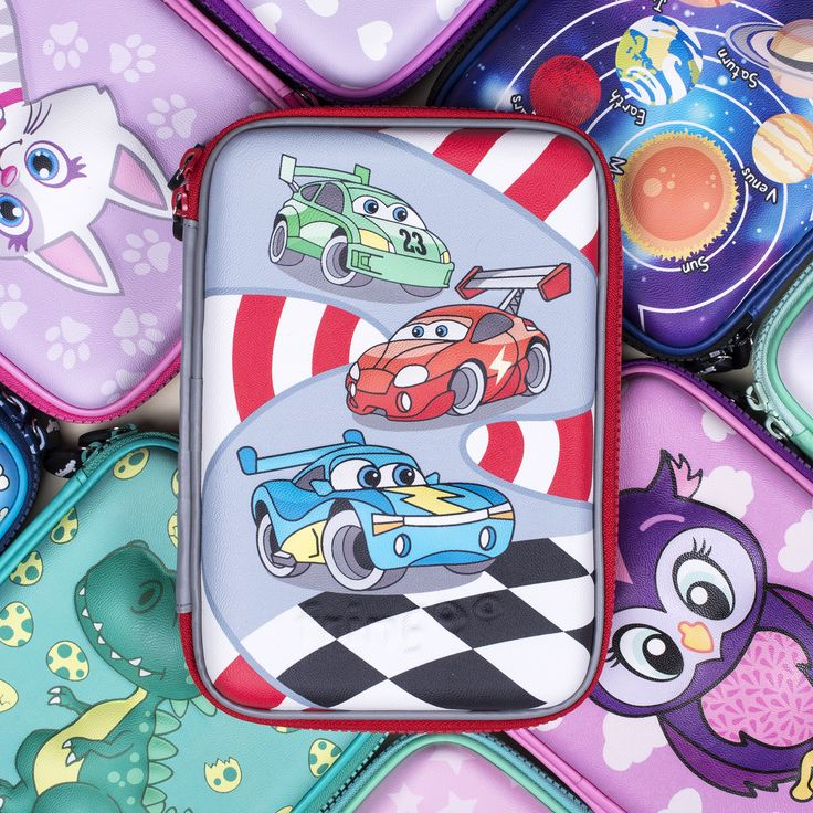 Race car themed embossed pencil case is great for boys to store their school stationary. As well as having an amazing design that they're guaranteed to love.