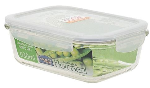 Boroseal II 2.7 Cup Heat Resistant Rectangular Glass Container with Lid