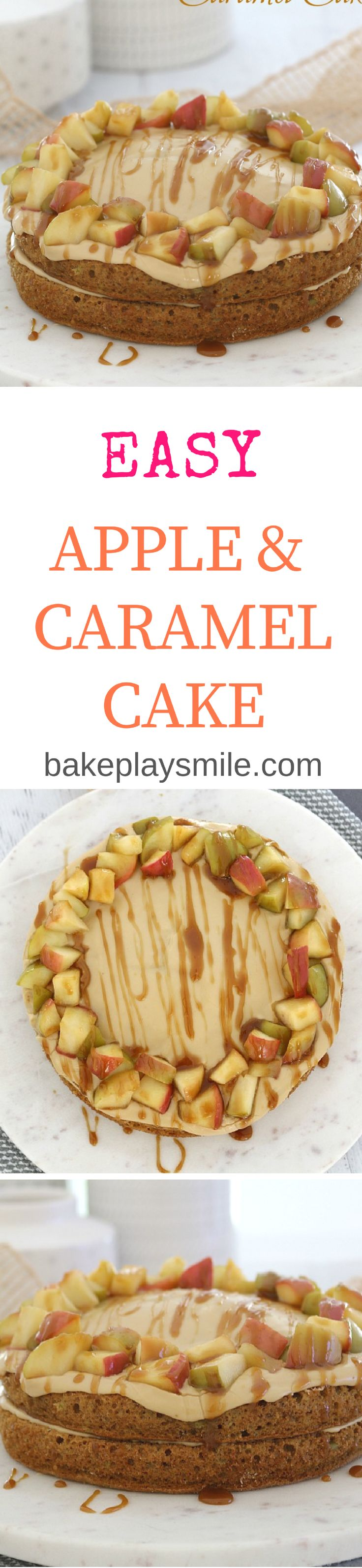 A deliciously moist and super easy apple & caramel cake with extra chunks of apple and a caramel sauce drizzled over the top. This is sure to become a family favourite!  #apple #caramel #layer #cake #baking #recipe #school #dessert #snacks #birthday #thermomix #conventional  http://bakeplaysmile.com/easy-apple-caramel-cake/