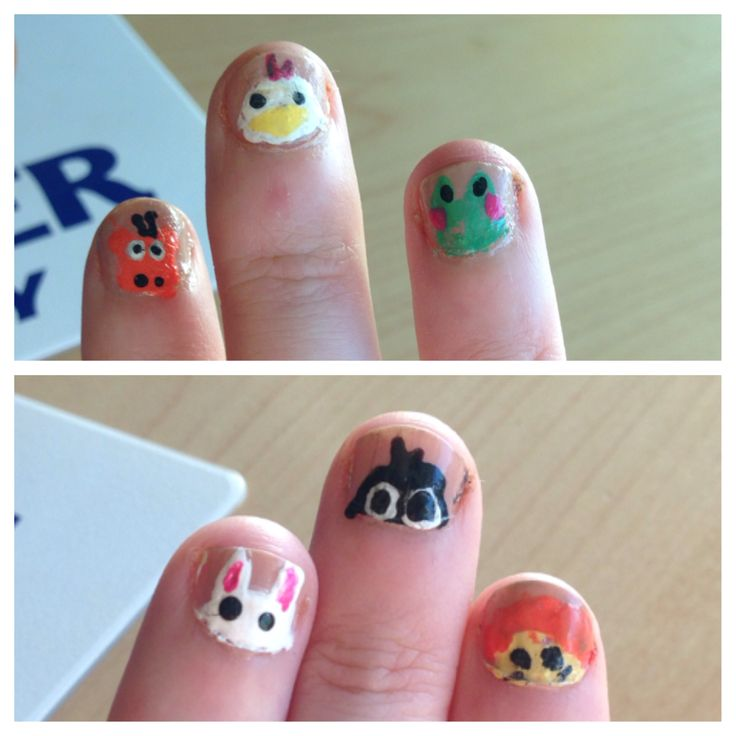 The Zoo. Animal nail art. not my best work but they're cute enough