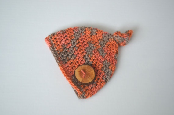 Orange Grey Crochet Baby hat with knot on top & tree by mokumba, $15.29: Tree, Crochet Baby Hats, Baby Crochet
