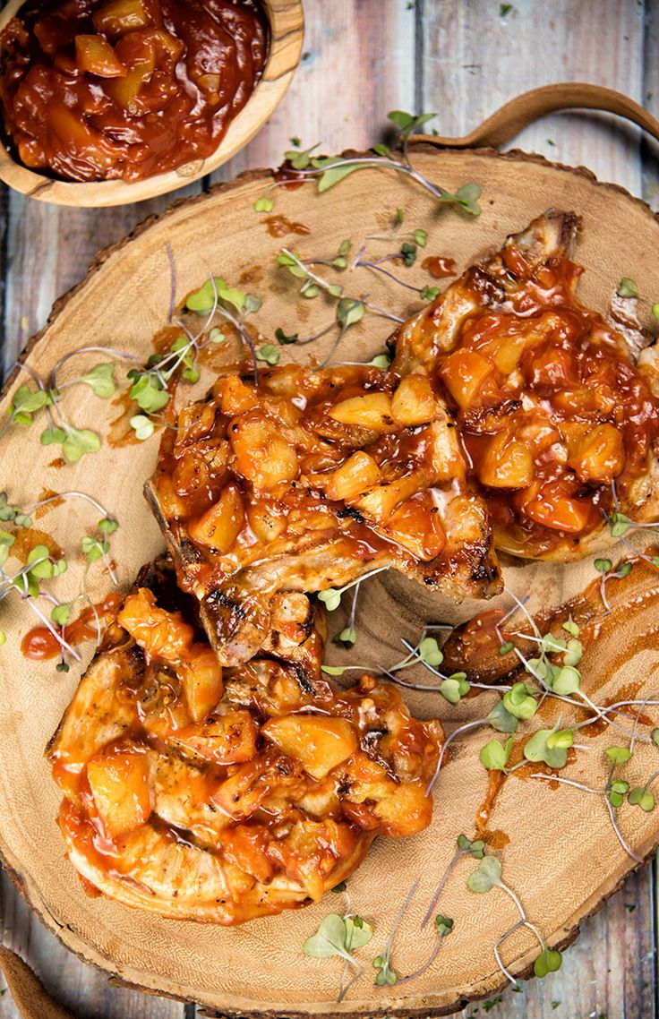 Pork Chops With BBQ Peach Sauce #Paleo