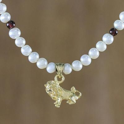 Gold Plated Cultured Pearl and Garnet Leo Pendant Necklace, 'Radiant Leo'