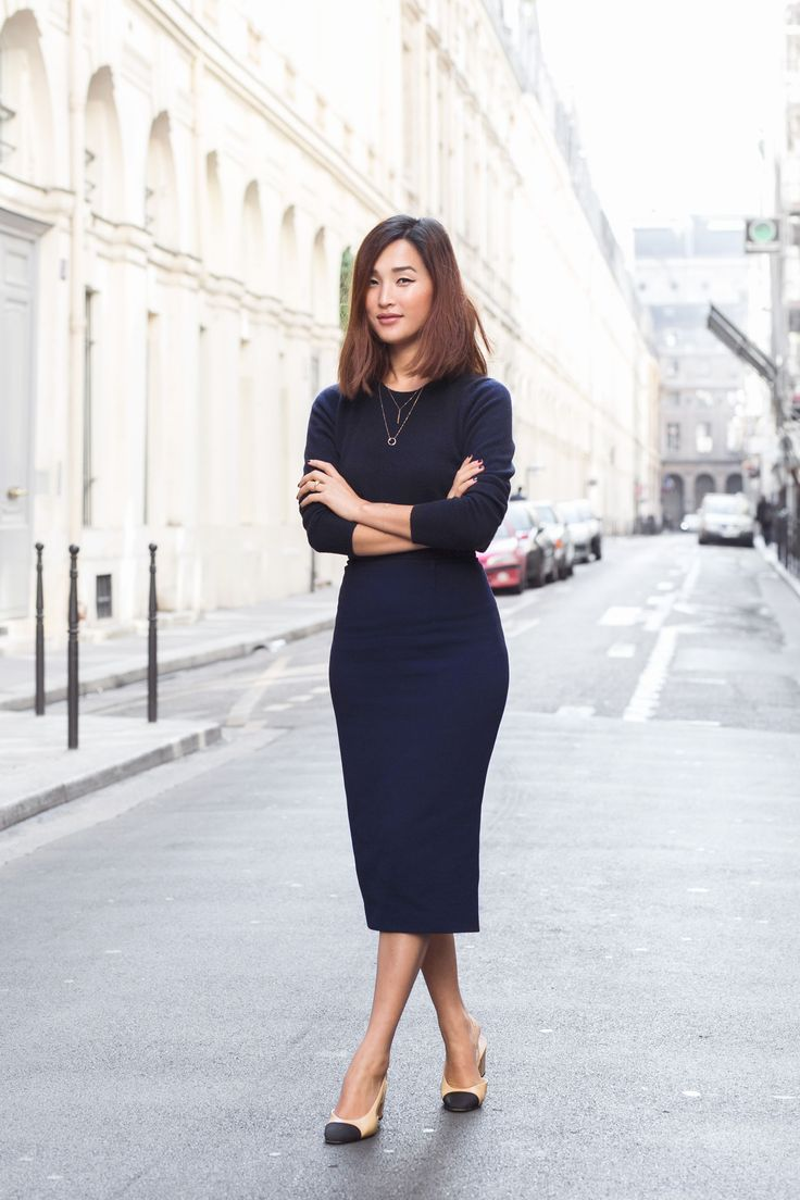 Nicole_Warne - Navy cashmere jumper, navy skirt and two tone Chanel slingbacks