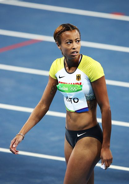 Tatjana Pinto of Germany competes in the Women's 100m Semi final on Day 8 of the…
