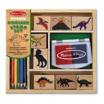 Melissa & Doug Wooden Dinosaur Stamp Set