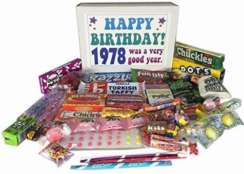 1978 Retro Nostalgic Candy 39th Birthday Gift Basket Box Born 70s Jr -- Click the image for detailed description
