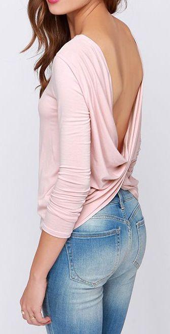 Scoop de Ville Blush Pink Long Sleeve Top