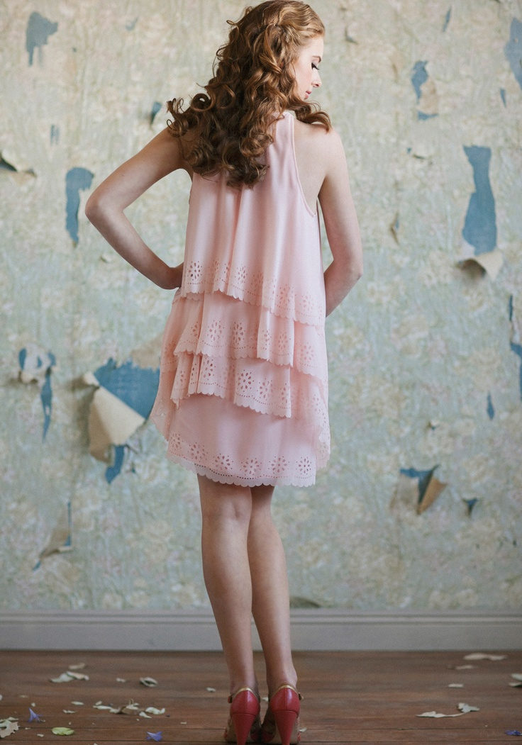 "Peony Dress 72.99 at shopruche.com. A breezy silhouette and soft peach hue lend modern romance to this semi-sheer georgette dress. Perfected with cascading tiers, a scalloped hem with cutout details, and a snap closure at the shoulder. Semi-sheer. Fully lined.  Shell: 100% Polyester, Lining: 100% Polyester, Imported, 35"" length from top of shoulders, Model is 5'8"", All measurements taken from a size small"